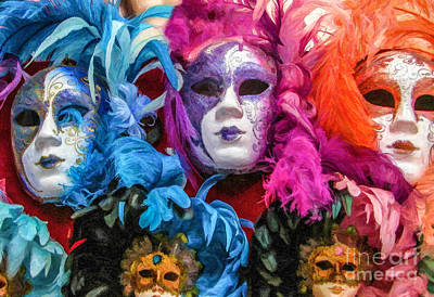 Digital Art - Venetian Masks by Liz Leyden