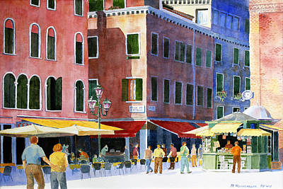 Art Print featuring the painting Venetian Piazza by Roger Rockefeller