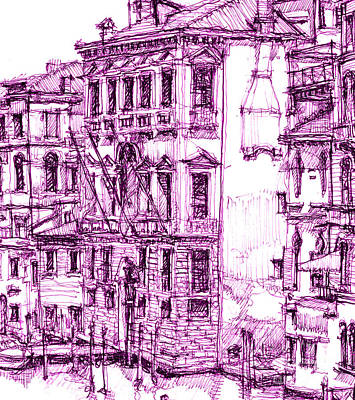 Lee-ann Drawing - Venetian Purple House by Adendorff Design