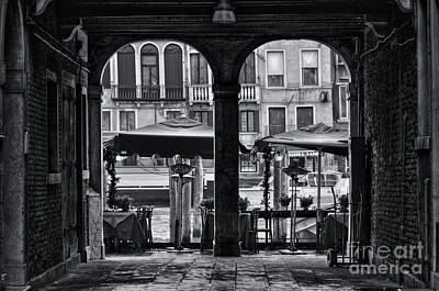 Venetian Street Black And White Art Print by Design Remix