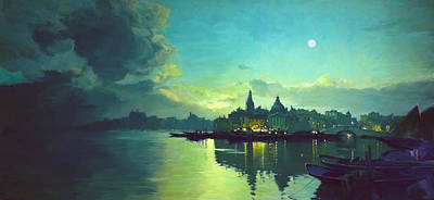 Boats In Reflecting Water Painting - Venetian Twilight by Paul Tagliamonte