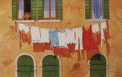Washday Painting - Venetian Washday by Mary Ellen Mueller Legault