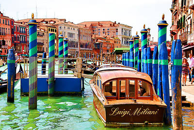 Digital Art - Venetian Water Taxi by Brian Davis