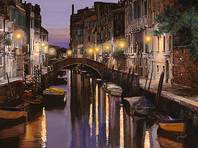 Dock Painting - Venezia Al Crepuscolo by Guido Borelli