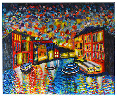 Italian Night Life Painting - Venezia Grande Canal At Dusk by Ricardo Of Charleston