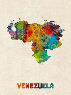 South America Digital Art - Venezuela Watercolor Map by Michael Tompsett