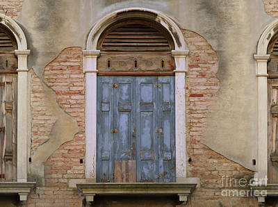 Painting - Venice Arched Bblue Shutters Horizontal by Robyn Saunders