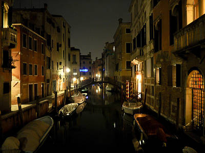 Photograph - Venice At Night by Silvia Bruno
