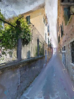 Mixed Media - Venice Back Alley by Russell Pierce