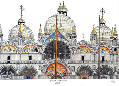 Drawing - Venice Basilica by Frederic Kohli
