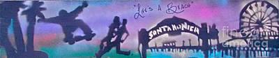 Conscious Painting - Venice Beach To Santa Monica  Purple by Tony B Conscious