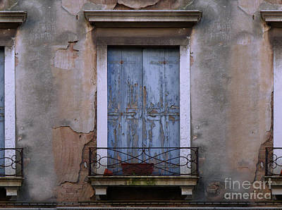 Painting - Venice Blue Shutters Horizontal Photo by Robyn Saunders
