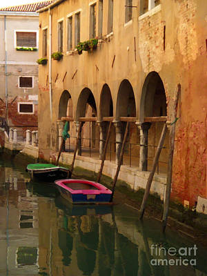 Mixed Media - Venice Boats On Canal by Robyn Saunders