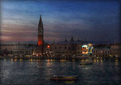 Print featuring the photograph Venice By Night by Hanny Heim