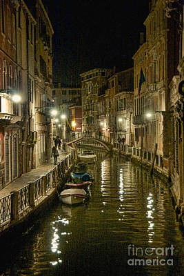 Photograph - Venice Canal By Night by Crystal Nederman