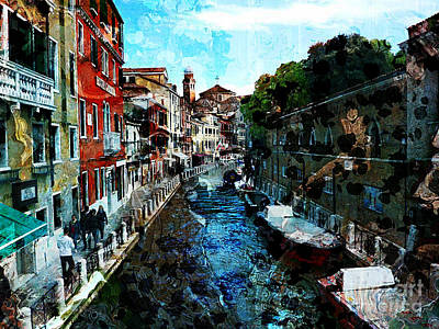 Digital Art - Venice Canal by Claire Bull