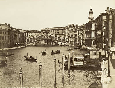 Ponte Rialto Photograph - Venice Canal Grande by Underwood Archives