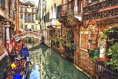 Old Wall Painting - Venice Canal Serenity by Gianfranco Weiss