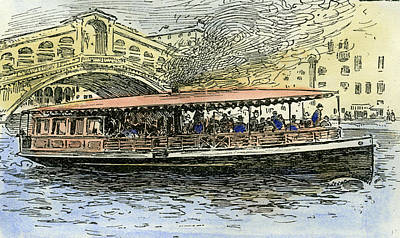 Steamboat Drawing - Venice Canal Steamboat Italy 1892 by Italian School