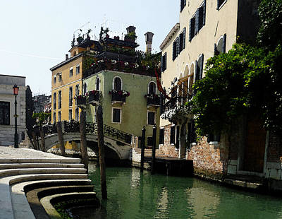 Venice Canal Summer In Italy Art Print