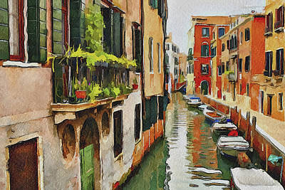 Venice Canals Watercolor 19 Art Print