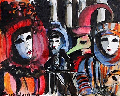 Blue And Red Painting - Venice Carnival 1 by Mona Edulesco