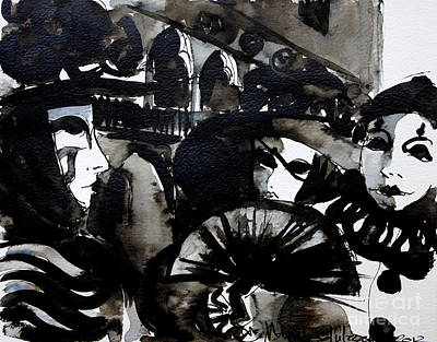 Ink Painting - Venice Carnival 2 by Mona Edulesco