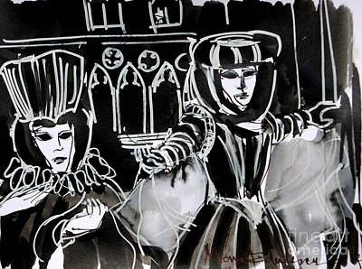 Ink Painting - Venice Carnival 5 by Mona Edulesco