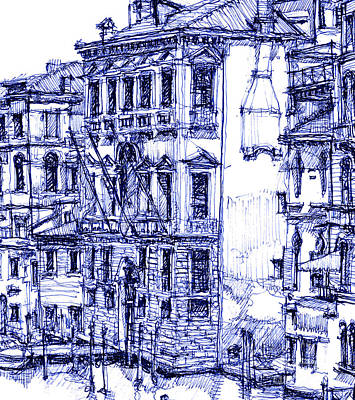 Venice Detail In Blue Print by Adendorff Design