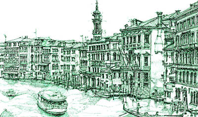 Venice Drawing In Green Art Print by Adendorff Design