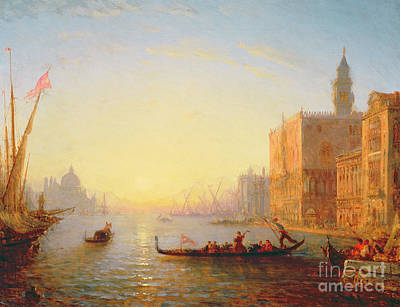 Flags Painting - Venice Evening by Felix Ziem