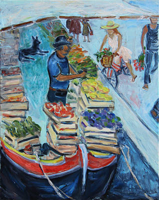 Painting - Venice Floating Farmers' Market by Xueling Zou