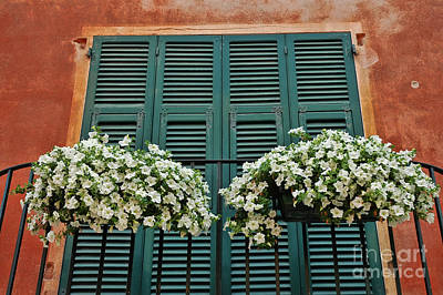 Art Print featuring the photograph Venice Flower Balcony 2 by Allen Beatty