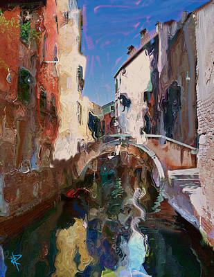 Mixed Media - Venice Foot Bridge by Russell Pierce