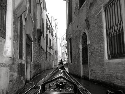 Venice Gondola Black And White Art Print by Teresa Tilley