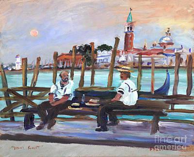 Venice Gondola With Full Moon Original by Valerie Freeman