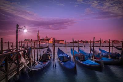 Venice Gondolas At Sunset Art Print by Melanie Viola