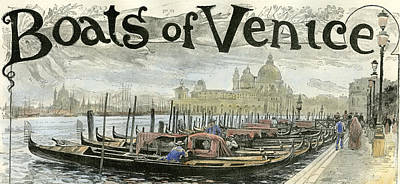 Venice Gondolas At The Station Piazza San Marco 1892 Print by English School