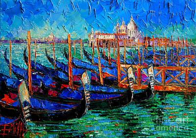 Middle Ages Painting - Venice - Gondolas - Santa Maria Della Salute by Mona Edulesco