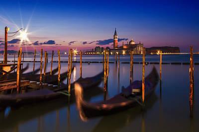 Venice Gondolas During Blue Hour Art Print by Melanie Viola