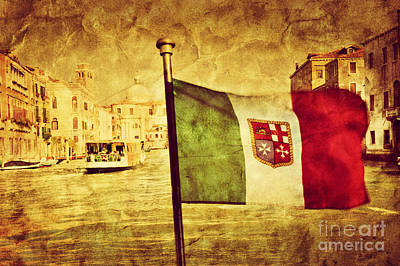 Photograph - Venice Grand Canal And The Flag Of Italy by Michal Bednarek