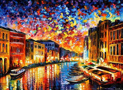 Poland Painting - Venice Grand Canal - Palette Knife Landscape City Oil Painting On Canvas By Leonid Afremov by Leonid Afremov