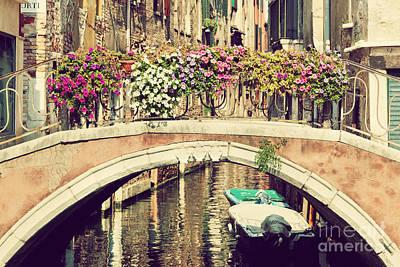 Photograph - Venice Italy A Romantic Bridge by Michal Bednarek