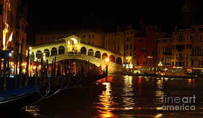 Photograph - Venice Italy At Night by Theresa Ramos-DuVon