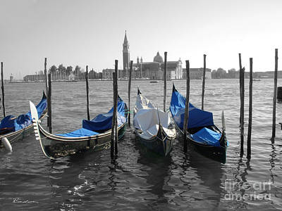 Venice Italy Boats In Black And Blue Art Print