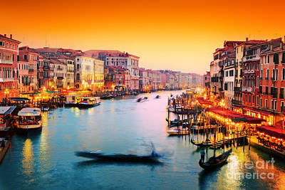 Photograph - Venice Italy Gondola Floats On Grand Canal At Sunset by Michal Bednarek