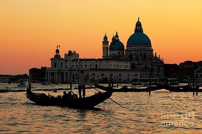 Photograph - Venice Italy Gondola On Grand Canal At Sunset by Michal Bednarek