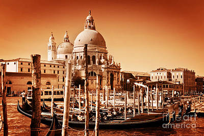 Photograph - Venice Italy Gondolas On Grand Canal by Michal Bednarek