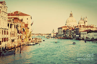 Photograph - Venice Italy  Grand Canal In Vintage Style by Michal Bednarek