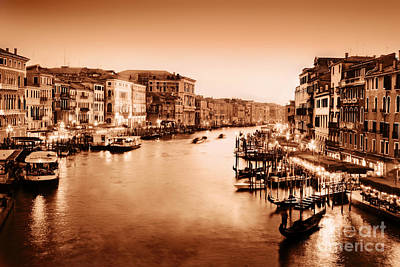 Photograph - Venice Italy In Gold Vintage Mood by Michal Bednarek